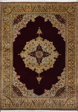 "Load image into Gallery viewer, 4'8""x6'6"" Traditional Burgundy Tabriz Wool & Silk Hand-Knotted Rug - Direct Rug Import 