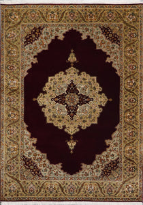 "4'8""x6'6"" Traditional Burgundy Tabriz Wool & Silk Hand-Knotted Rug - Direct Rug Import 