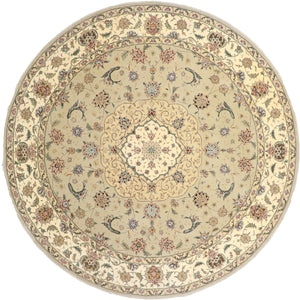 "8'6""x8'6"" Decorative Green Wool & Silk Hand-Tufted Rug - Direct Rug Import 