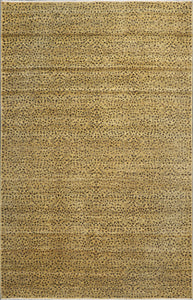 "6'1""x9' Transitional Gold Wool Hand-Knotted Rug"