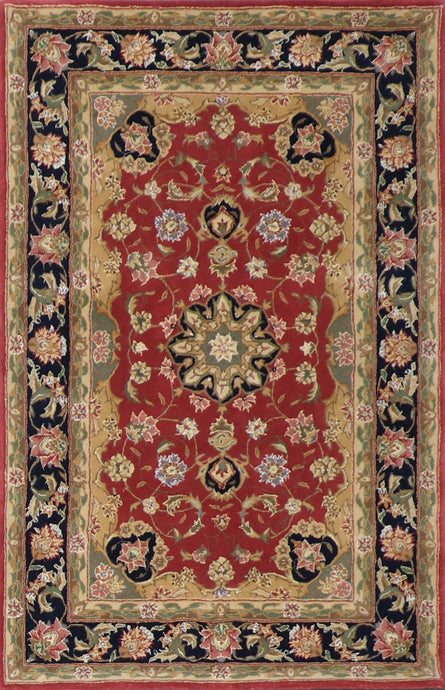 "3'8""x5'7"" Traditional Red Wool & Silk Hand-Tufted Rug"