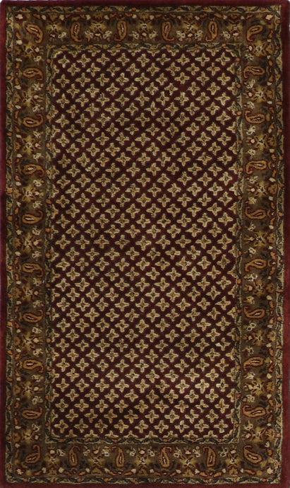 "3'x5'1"" Decorative Burgundy Wool Hand-Tufted Rug - Direct Rug Import 
