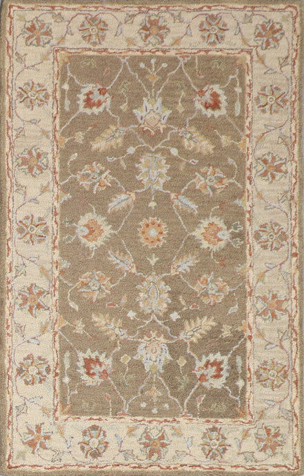 "3'6""x5'6"" Decorative Brown Hook Wool Hand-Tufted Rug - Direct Rug Import 