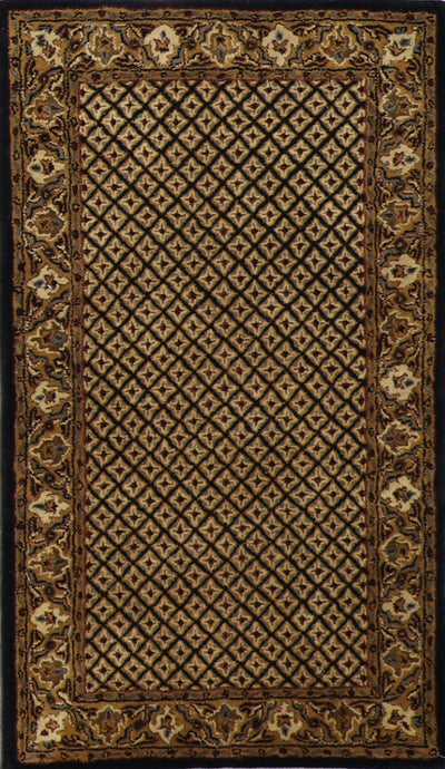 "3'x5'2"" Decorative Black Wool Hand-Tufted Rug - Direct Rug Import 