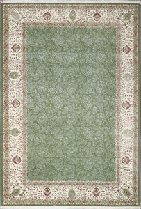"6'5""x9'3"" Decorative Green Wool & Silk Hand-Knotted Rug - Direct Rug Import 