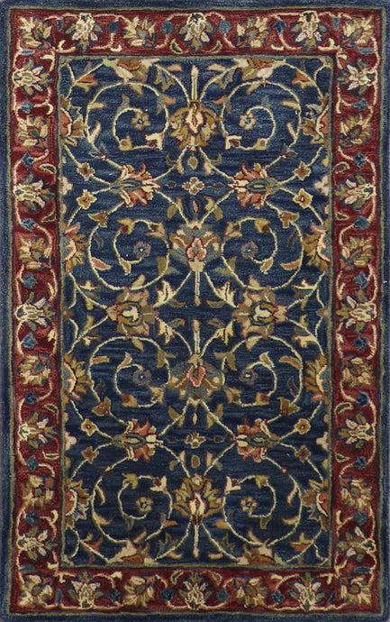 "3'1""x5'1' Decorative Navy Wool Hand-Tufted Rug - Direct Rug Import 