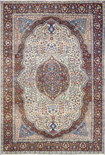 "Load image into Gallery viewer, 4'7""x7' Traditional Isfahan Persian Design Brown Wool Hand-Knotted Rug - Direct Rug Import 