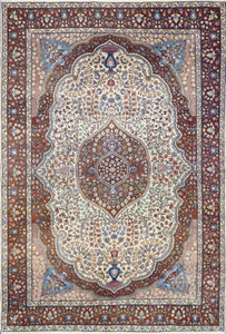 "4'7""x7' Traditional Isfahan Persian Design Brown Wool Hand-Knotted Rug - Direct Rug Import 