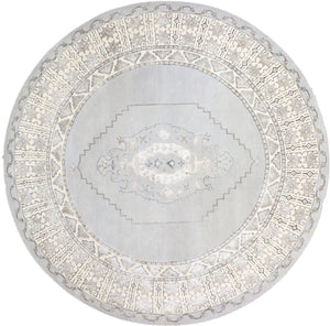 "9'10""x9'10"" Decorative Round Vintage Wool & Silk Hand-Tufted Rug - Direct Rug Import 