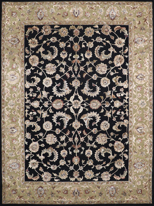 "9'x12'1"" Traditional Black Wool & Silk Hand-Tufted Rug"