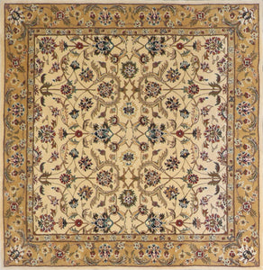 "5'6""x5'7"" Traditional Tan Wool Hand-Tufted Rug - Direct Rug Import 