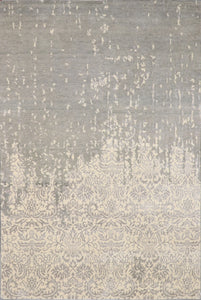 "6'x8'10"" Transitional Gray Wool & Silk Hand-Knotted Rug - Direct Rug Import 