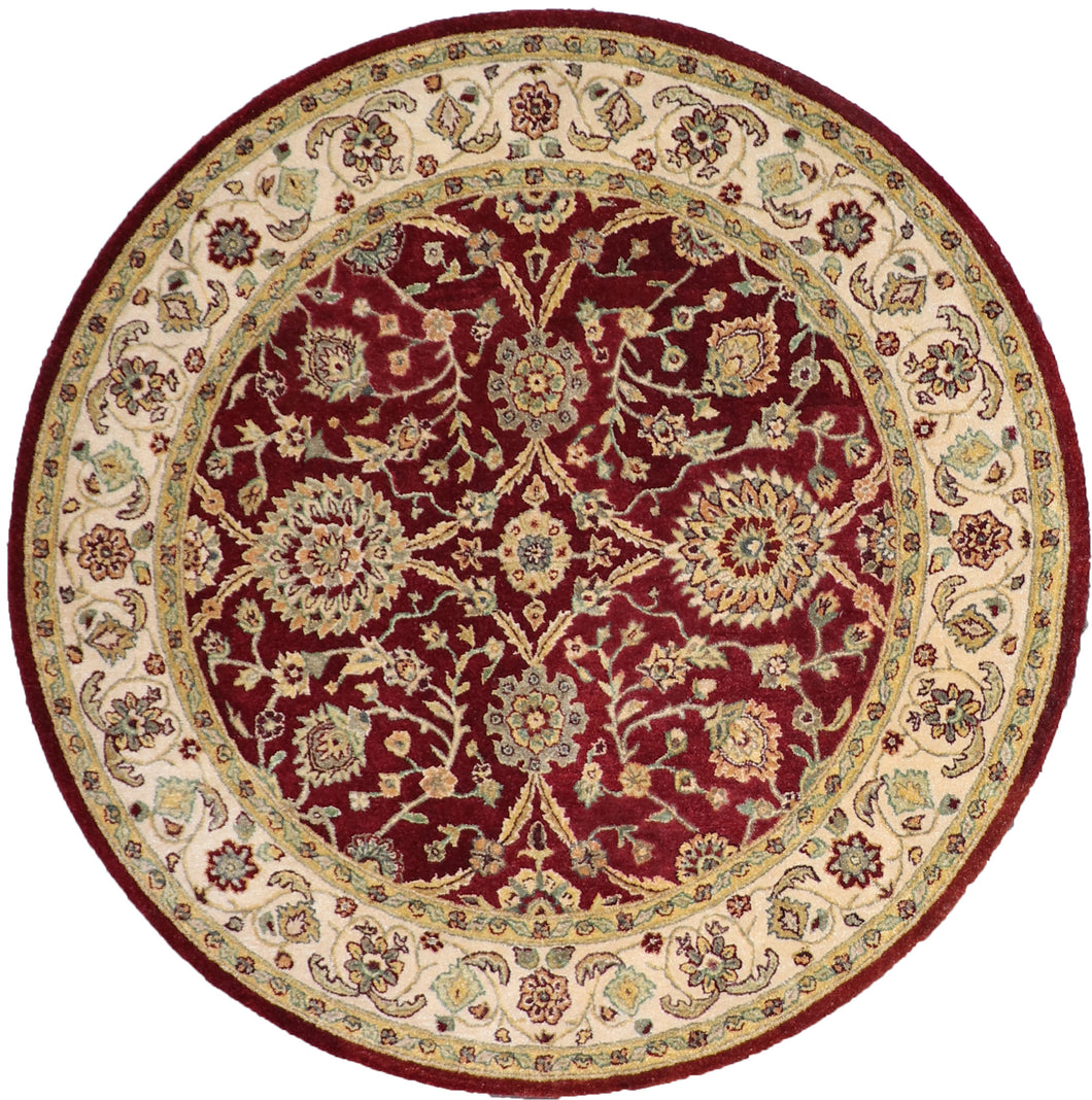 "6'1""x6'1"" Decorative Red Wool Hand-Tufted Rug - Direct Rug Import 