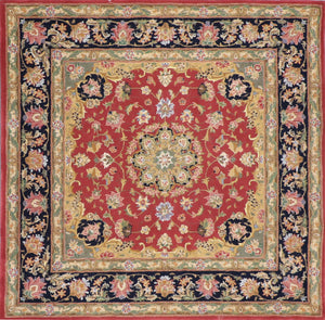 "5'7""x5'7"" Traditional Red Wool & Silk Hand-Tufted Rug - Direct Rug Import 
