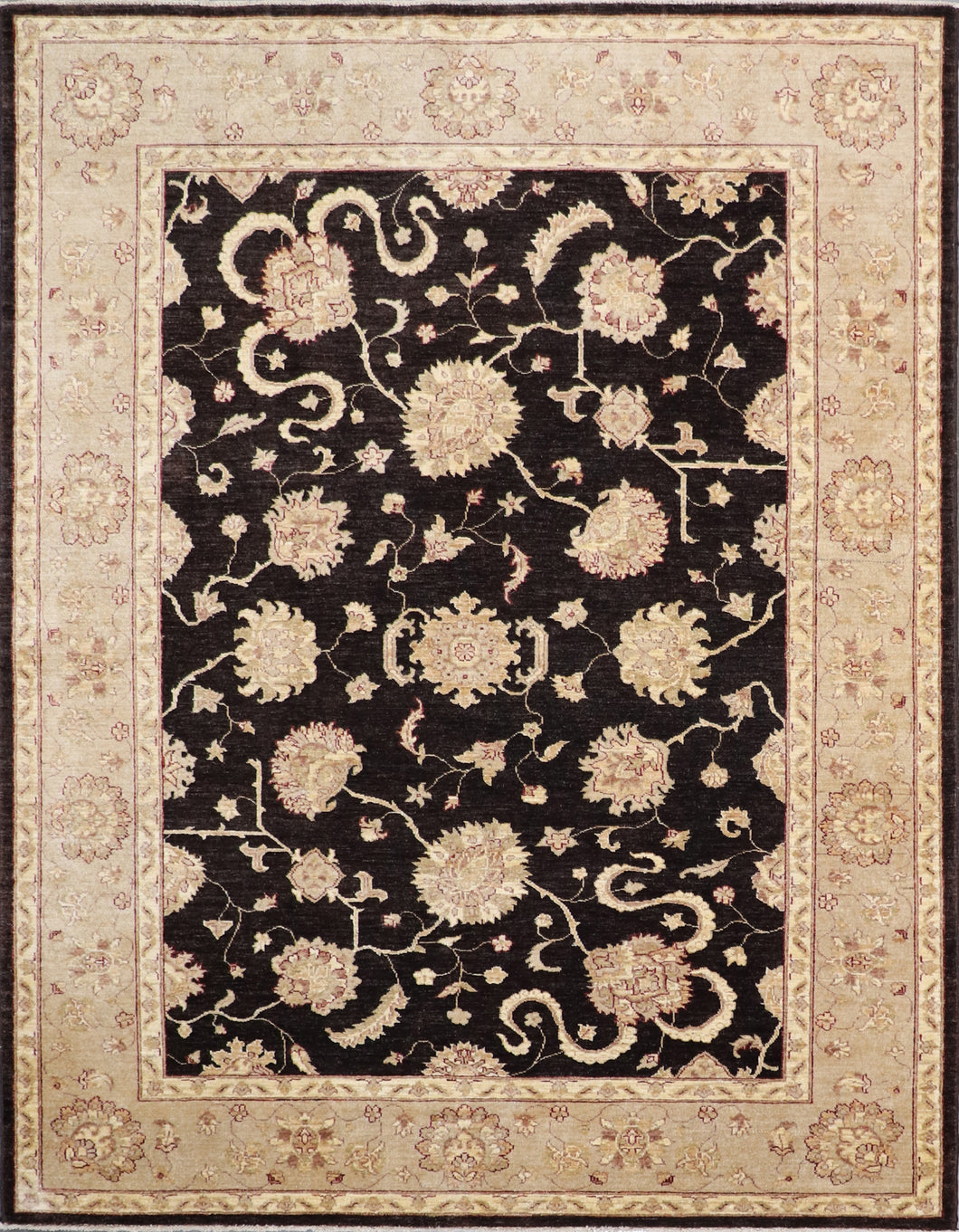 6'x8' Traditional Black Kashan Wool Hand-Knotted Rug - Direct Rug Import | Rugs in Chicago, Indiana,South Bend,Granger