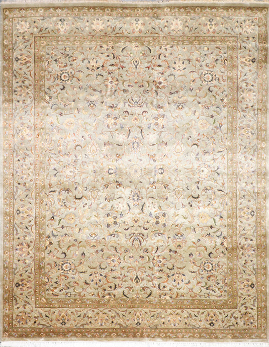 "5'8""x7'11"" Traditional Tan Wool & Silk Hand-Knotted Rug - Direct Rug Import 