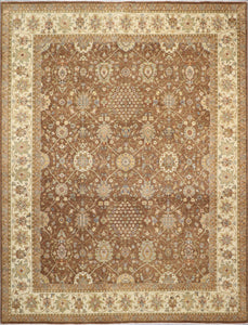 "7'11""x10'5"" Traditional Brown Kashan Wool Hand-Knotted Rug - Direct Rug Import 