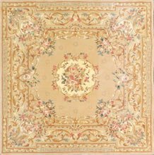 "Load image into Gallery viewer, 5'7""x5'7"" Traditional Tan Wool & Silk Hand-Tufted Rug - Direct Rug Import 