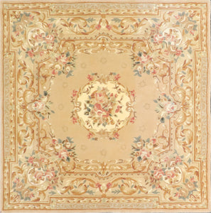 "5'7""x5'7"" Traditional Tan Wool & Silk Hand-Tufted Rug - Direct Rug Import 