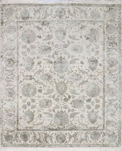 "8'1""x9'7"" Transitional Gray Kashmir Wool & Silk Hand-Knotted Rug - Direct Rug Import 
