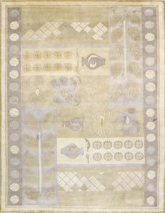 "8'9""x11'5"" Decorative Tan Nepal Wool Hand-Knotted Rug - Direct Rug Import 