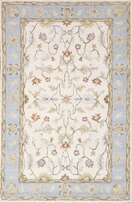 "3'5""x5'4"" Decorative Ivory Hook Wool Hand-Tufted Rug - Direct Rug Import 
