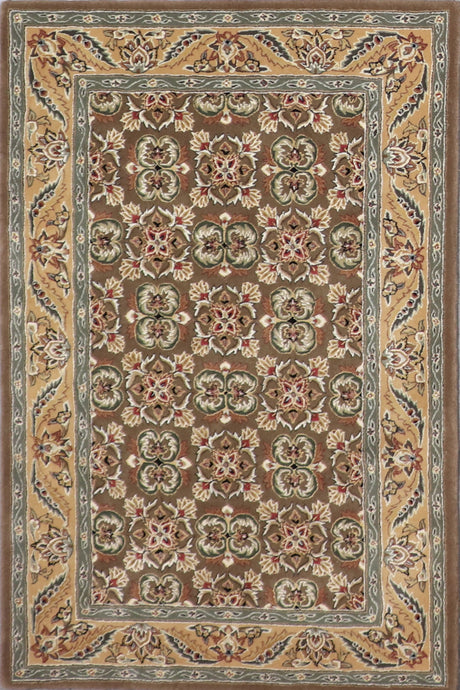 "3'8""x5'7"" Traditional Brown Wool & Silk Hand-Tufted Rug - Direct Rug Import 