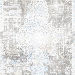 "5'1""x7'6"" Transitional Silver Wool & Silk Hand-Finished Rug"