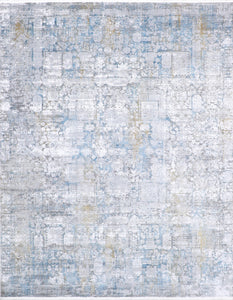 "7'8""x9'8"" Transitional Silver Wool & Silk Hand-Finished Rug - Direct Rug Import 