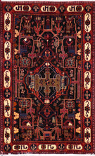 "Load image into Gallery viewer, 4'7""x7'4"" Traditional Persian Tribal Wool Hand-Knotted Rug"