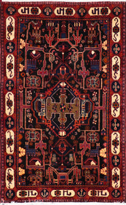 "4'7""x7'4"" Traditional Persian Tribal Wool Hand-Knotted Rug"