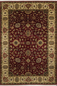 "5'9""x8'6"" Traditional Burgundy Kashan Wool & Silk Hand-Knotted Rug - Direct Rug Import 
