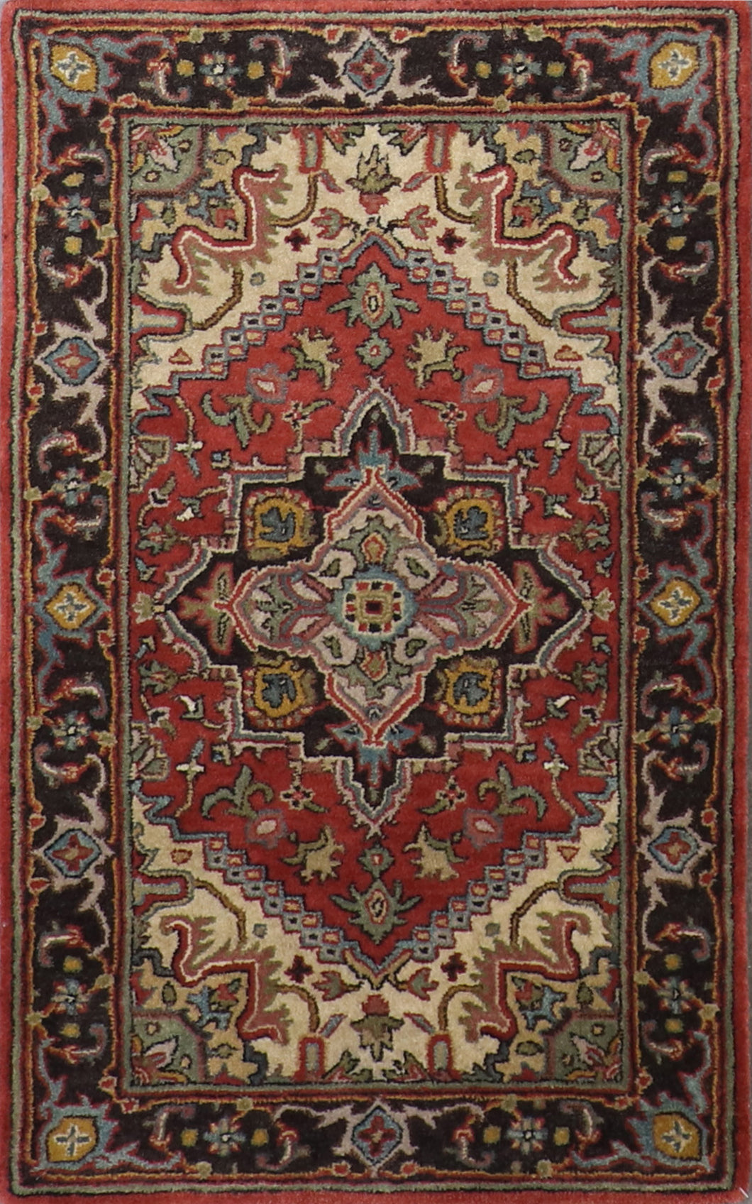 "3'x4'11"" Traditional Red Wool Hand-Tufted Rug - Direct Rug Import 