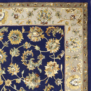 9'x12' Traditional Navy Wool & Silk Hand-Tufted Rug - Direct Rug Import | Rugs in Chicago, Indiana,South Bend,Granger