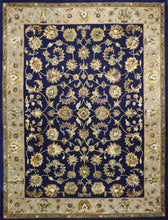 Load image into Gallery viewer, 9'x12' Traditional Navy Wool & Silk Hand-Tufted Rug - Direct Rug Import | Rugs in Chicago, Indiana,South Bend,Granger