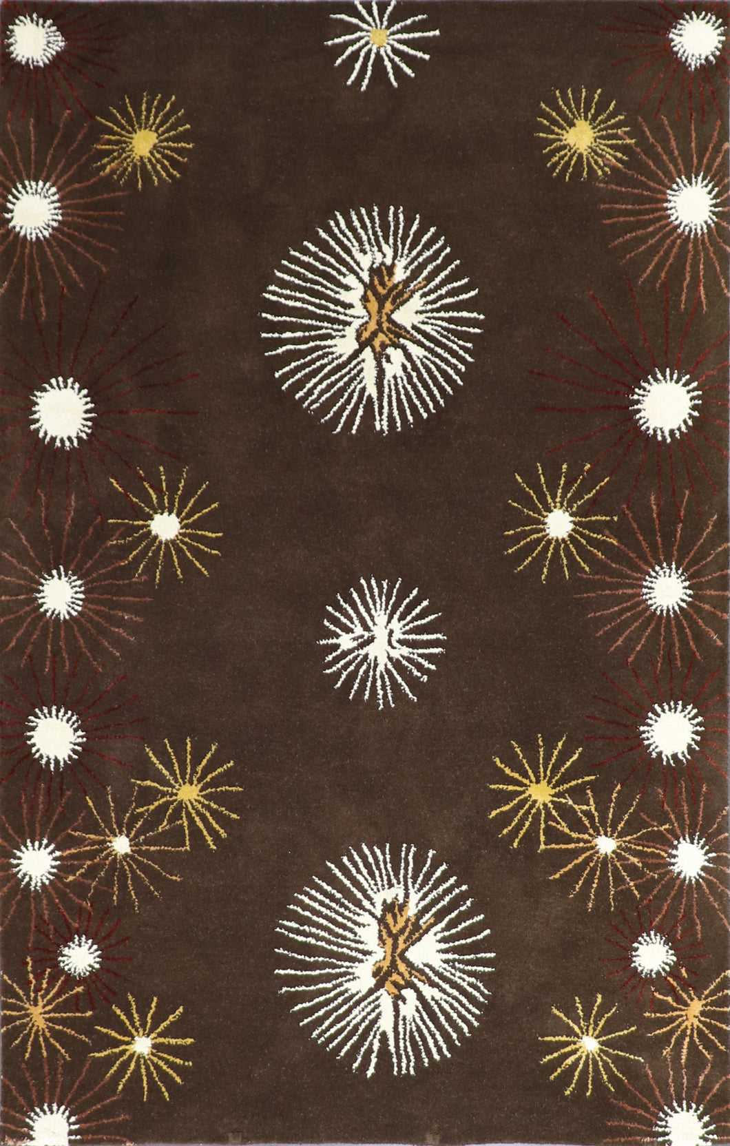 5'x8' Contemporary Brown Wool & Silk Hand-Knotted Rug