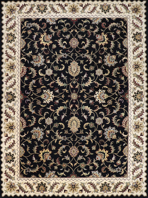 "8'6""x11'6"" Traditional Kashan Black Wool Hand-Tufted Rug - Direct Rug Import 