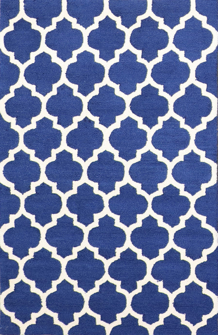 "3'7""x5'5"" Contemporary Blue Wool Hand-Tufted Rug - Direct Rug Import 