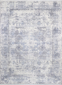 "9'1""x12'5"" Transitional Gray&Ivory Wool & Silk Hand-Knotted Rug - Direct Rug Import 