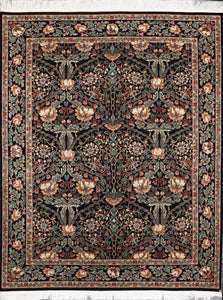 "8'x9'11"" Traditional Black Wool Hand-Knotted Rug - Direct Rug Import 
