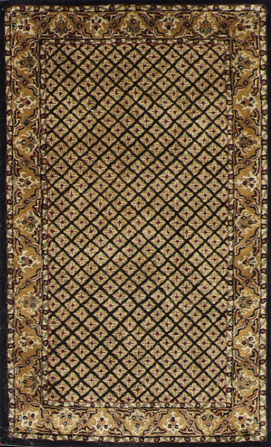 "3'1""x5' Decorative Black Wool Hand-Tufted Rug - Direct Rug Import 