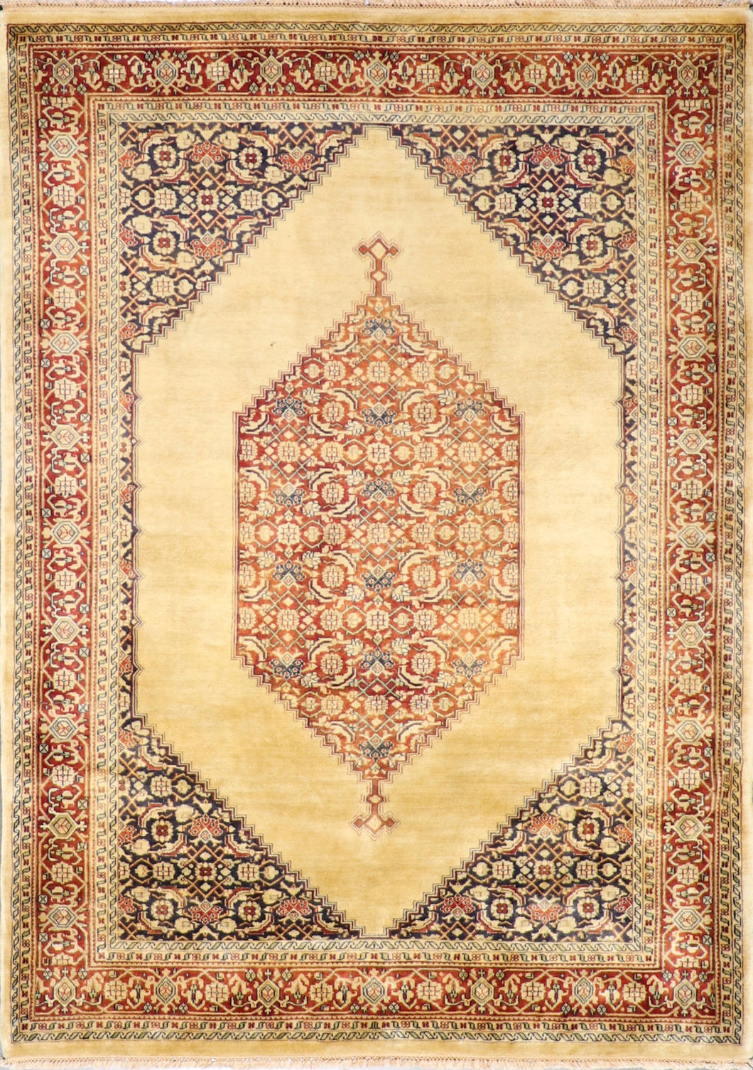 "5'8""x7'11"" Decorative Tan Wool Hand-Knotted Rug - Direct Rug Import 