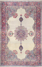 "Load image into Gallery viewer, 4'7""x7'5"" Antique Persian Ivory Wool Hand-Knotted Rug"