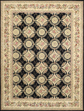 "Load image into Gallery viewer, 8'6""x11'5"" Traditional Tabriz Black Wool & Silk Hand-Tufted Rug"