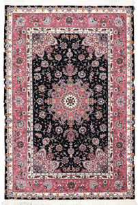 "4'1""x6'1"" Traditional Tabriz Wool & Silk Hand-Knotted Rug - Direct Rug Import 