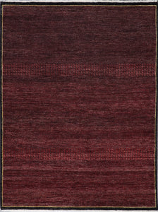 "4'11""x6'7"" Contemporary Burgundy Nepal Wool Hand-Knotted Rug - Direct Rug Import 