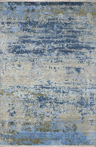 "5'11""x9' Contemporary Gray Wool & Silk Hand-Knotted Rug - Direct Rug Import 