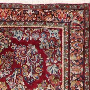 "4'2""x6'5"" Traditional Persian Heriz Red Wool Hand-Tufted Rug"