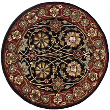 "Load image into Gallery viewer, 2'11""x2'11"" Decorative Black Round Wool Rug"