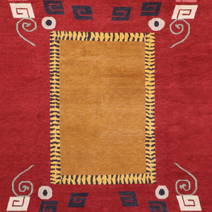"8'1""x10'1"" Decorative Tibetan Red Wool Hand-Knotted Rug - Direct Rug Import 